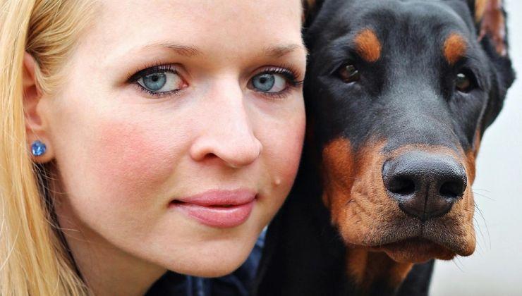 Woman Beside Dog