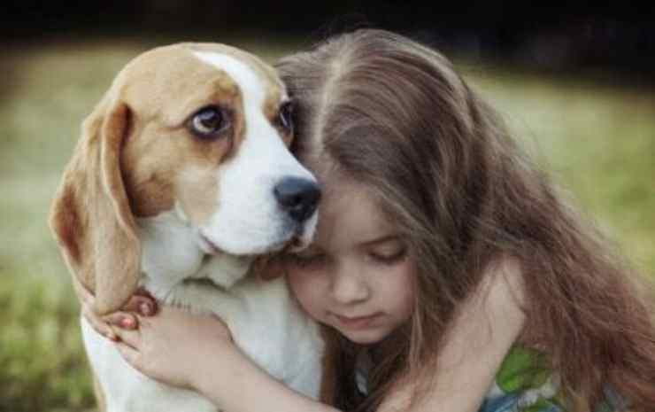 the girl's embrace of the Facebook dog