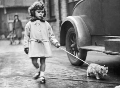 2nd December 1931: A young exhibitor arrives with her kitten on a lead at the National Cat Club show at Crystal Palace, London. (Photo by Fox Photos / Getty Images)